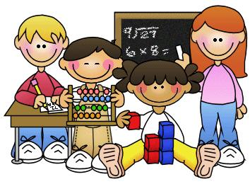 Clipart image of kids with an abacus, a chalkboard, blocks, and desk